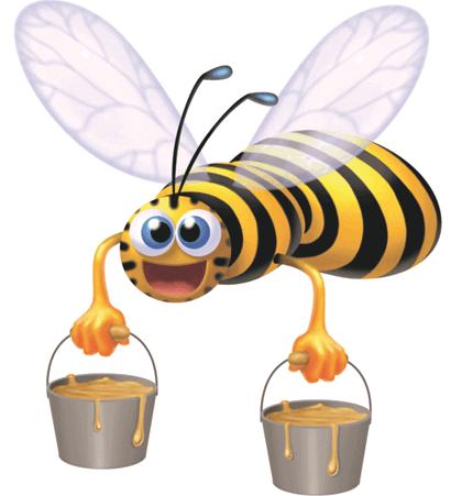 Rysunkowa pszczoła taszczy wiadra z miodem