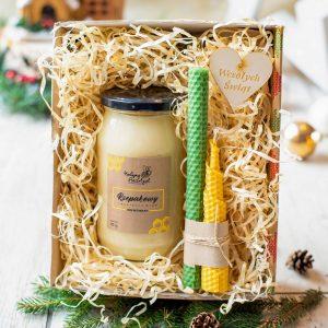 Prezent świąteczny: miód i świece z wosku pszczelego